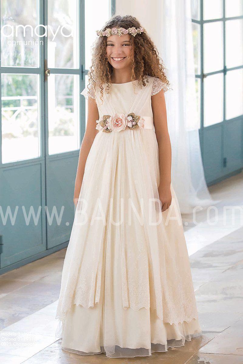 Vestido Comunión Tul Rosa Amaya 2019 Modelo 929 Madrid Y