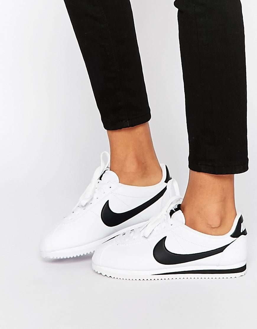 premium selection db684 f8020 Nike   Nike Leather White Cortez Trainers at ASOS