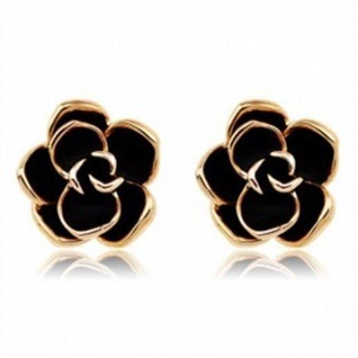 18k Gp Rose Gold Plated Black Flower Stud Earring 1 5cm