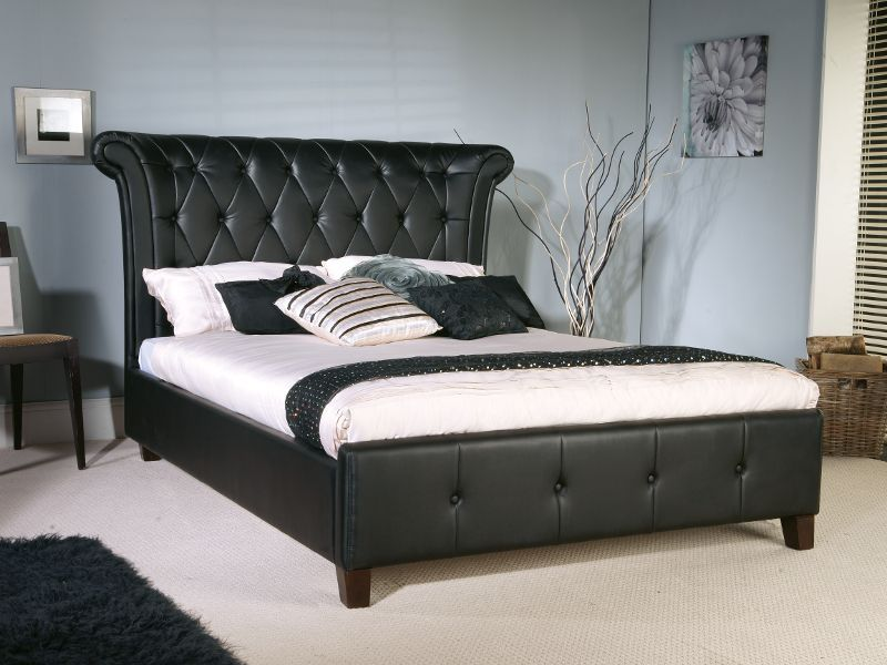 Epsilon Black Faux Leather Bed Frame