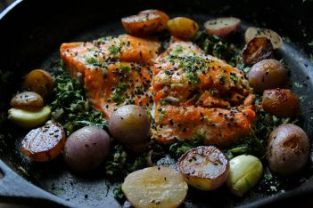 Slow Roasted Salmon with Lime, Cilantro and Radishes and Their Greens