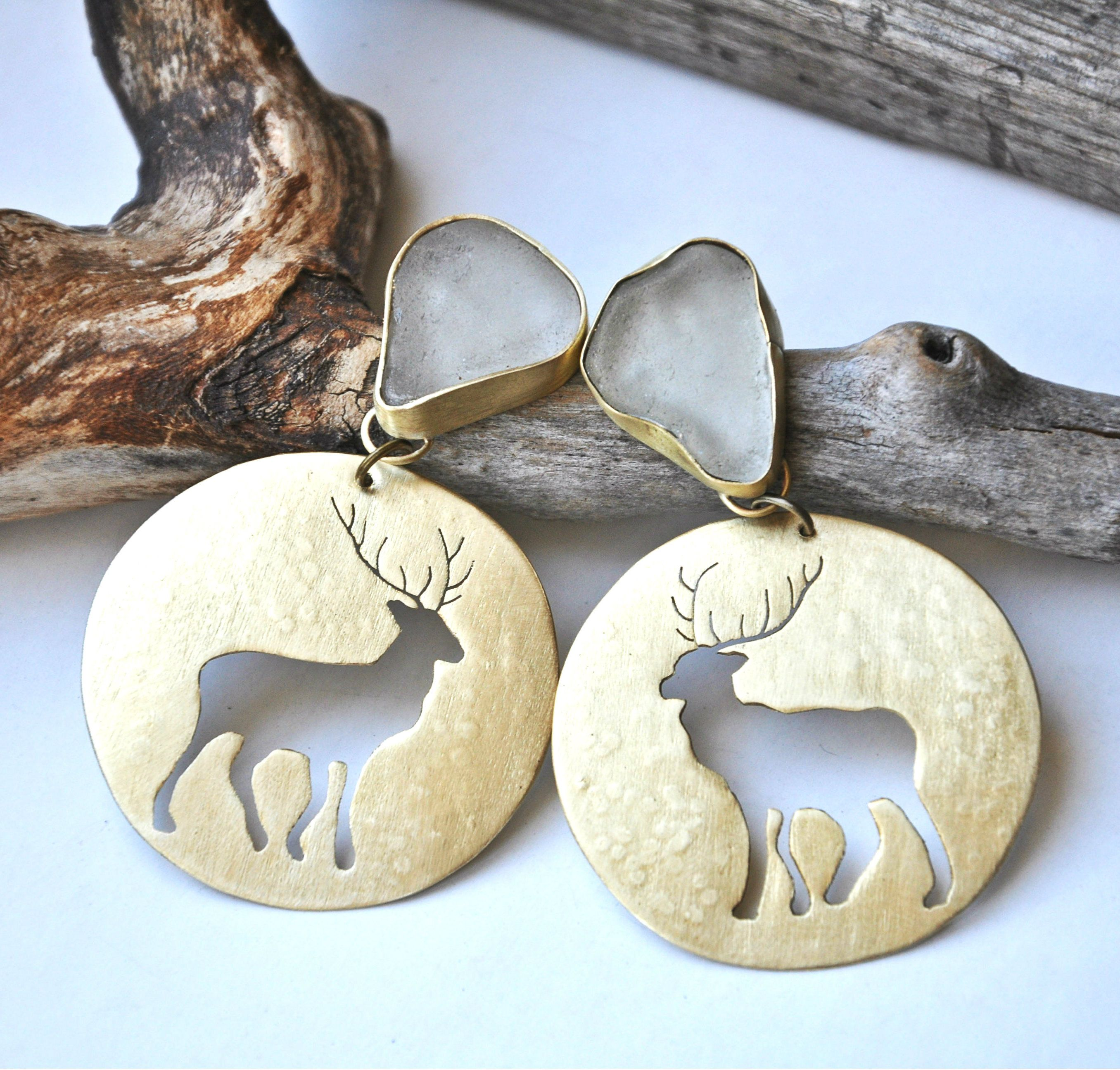 Winter forest earrings deer earrings jewelry lovers galore board