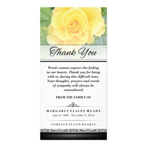 Thank You Funeral Yellow Rose Words Cannot Express Card Funeral - funeral words for cards