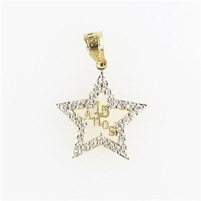 7e6c046f2 14K YELLOW GOLD Sweet 15 Anos Birthday Quinceanera Star Pendant Charm  Necklace