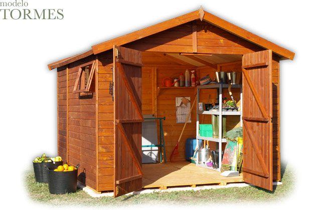 Caseta de madera para el jard n modelo tormes fuente for Casetas para guardar herramientas de jardin