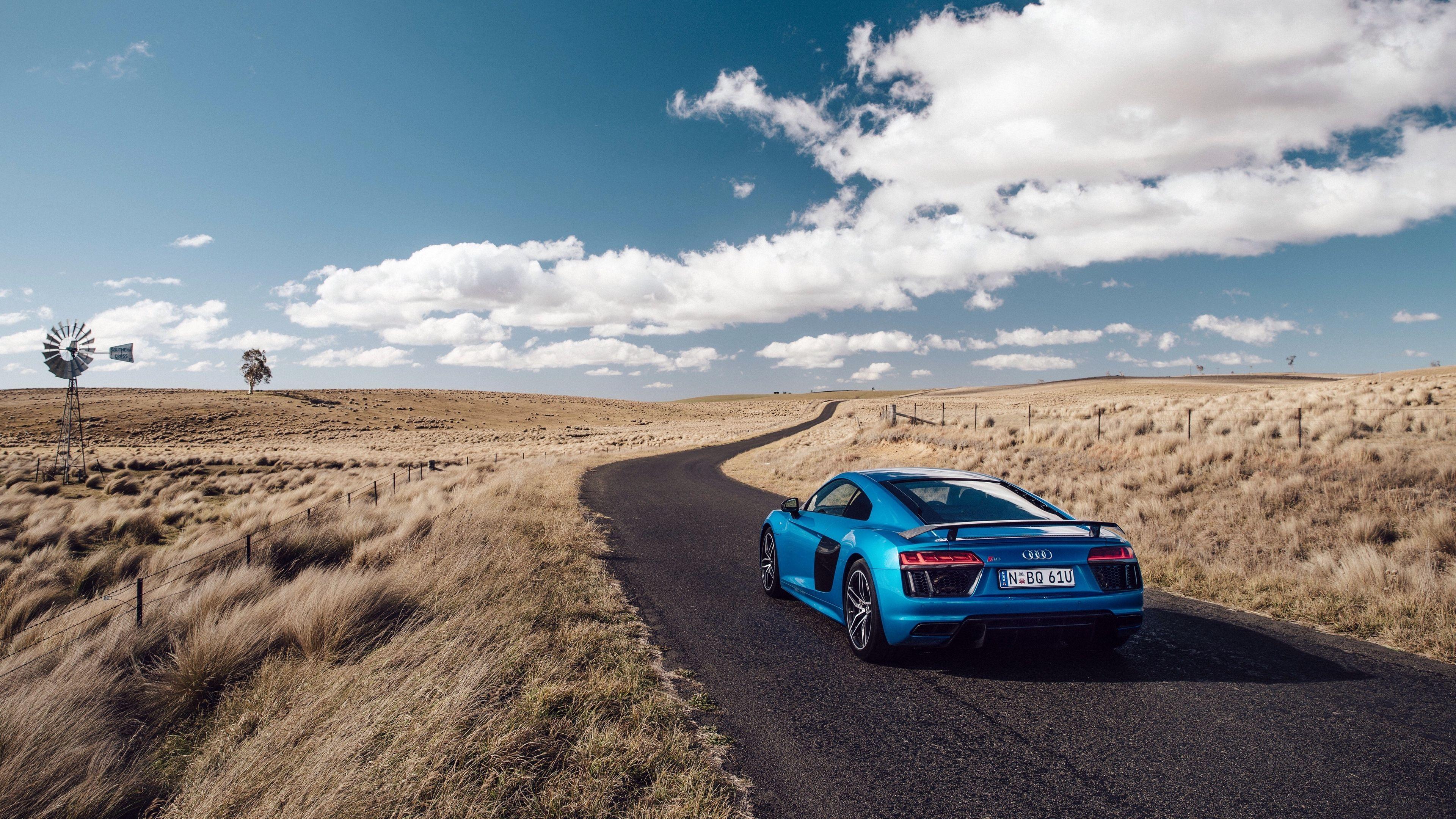 audi r8 v10 side view blue road grass 4k V10 r8 Audi