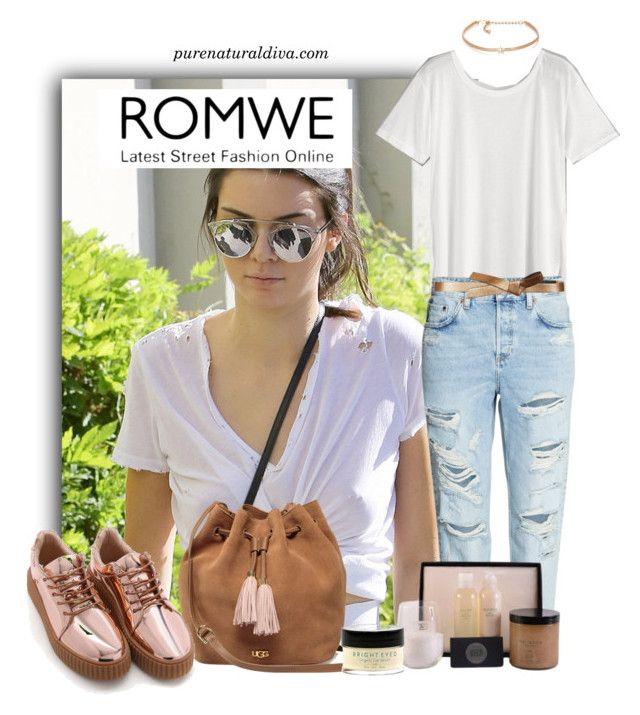 """""""White T-shirt"""" by purenaturaldiva ❤ liked on Polyvore featuring Kenneth Jay Lane, UGG, BCBGMAXAZRIA, naturalbeauty, organicbeauty and purenaturaldiva"""