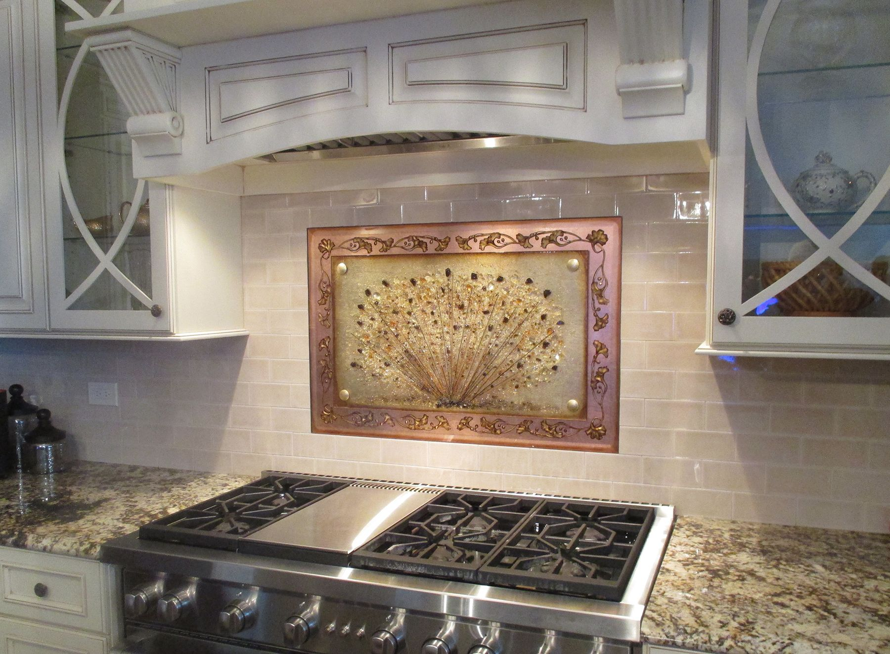 Custom Fused Glass backsplash with Carved and Backpainted border