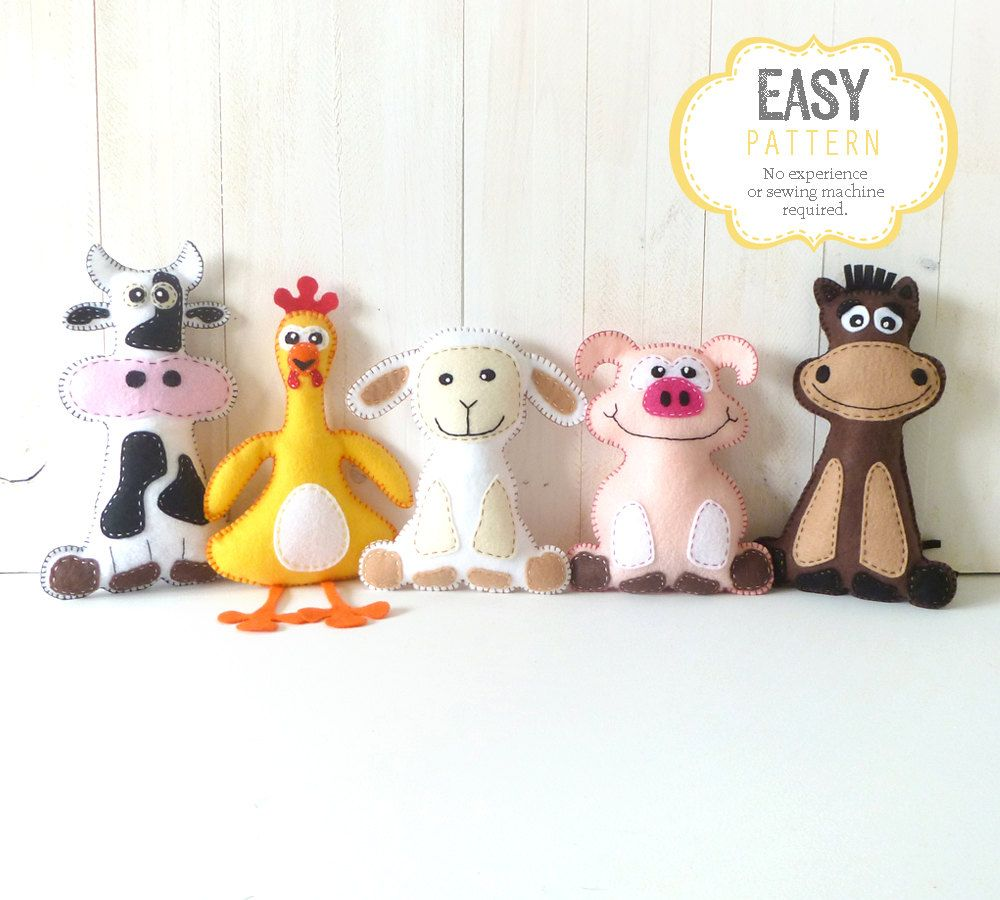 Farm Animal Softie Patterns Felt Stuffed by LittleSoftieShoppe ...