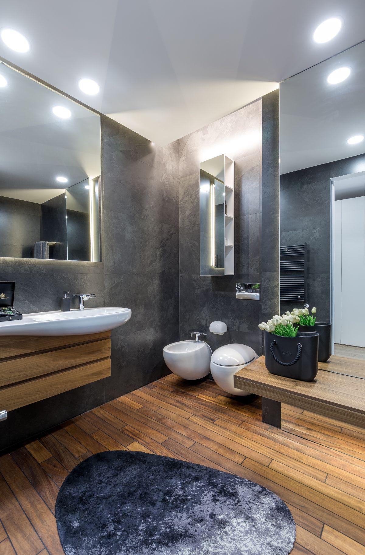 Badezimmer Grau Holzboden