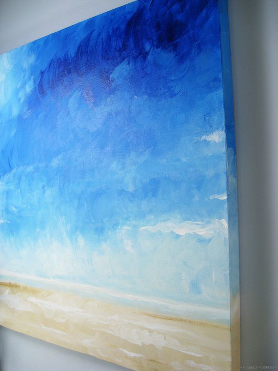 Seascape Ocean Painting Beach Painting by MichelleMospensArt