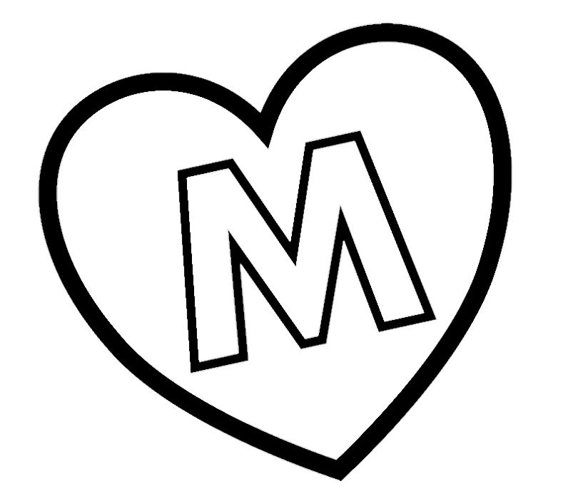 M Hearts Colouring Pages Flamalar Harfler Afis Harfler