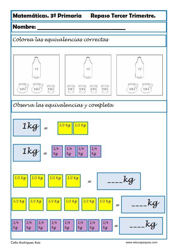 Fichas de matemáticas tercero primaria | Pinterest | Ejercicios de ...
