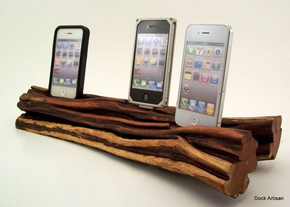Family Charging Station Triple Iphone 4 Wood Dock