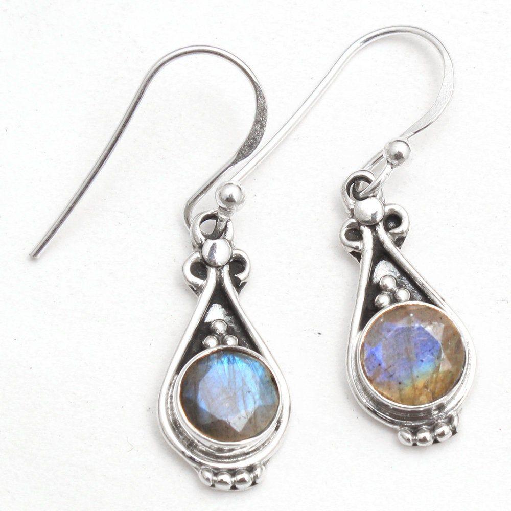 925 Sterling Silver Drop /& Dangle Long Earrings 3 ae0778 SALE !!! Natural Labradorite Oval Gemstone Pretty Long Earring
