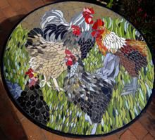 Judith Campbell -  Dijutal Roosters & Hens ceramic mosaic on wrought iron table