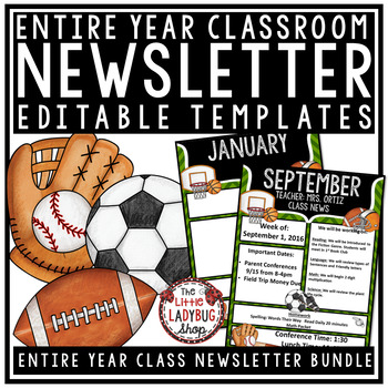 Sports Theme Classroom Monthly Weekly Newsletter Template Editable Sports Theme Classroom Editable Newsletter Templates Classroom Newsletter Template
