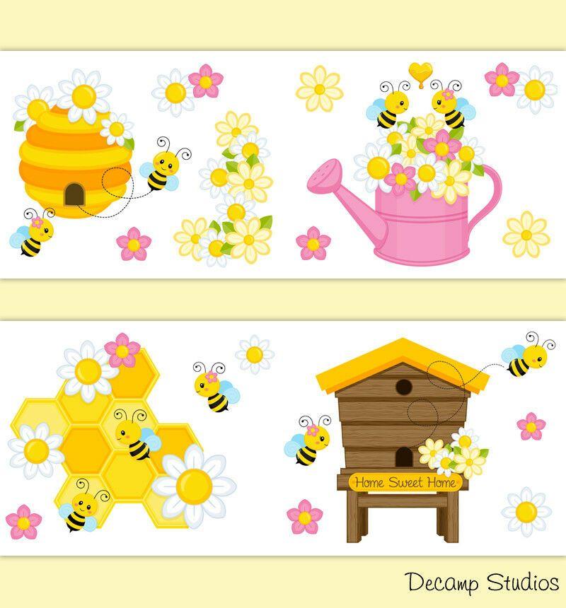 Bumble Bee Nursery Baby Girl Wallpaper Border Wall Art