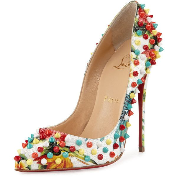 Christian Louboutin Follies Spiked Floral 120mm Red Sole Pump ($1,370) ❤ liked on Polyvore featuring shoes, pumps, heels, white multi, white pumps, christian louboutin shoes, leather shoes, white pointed toe pumps and white shoes
