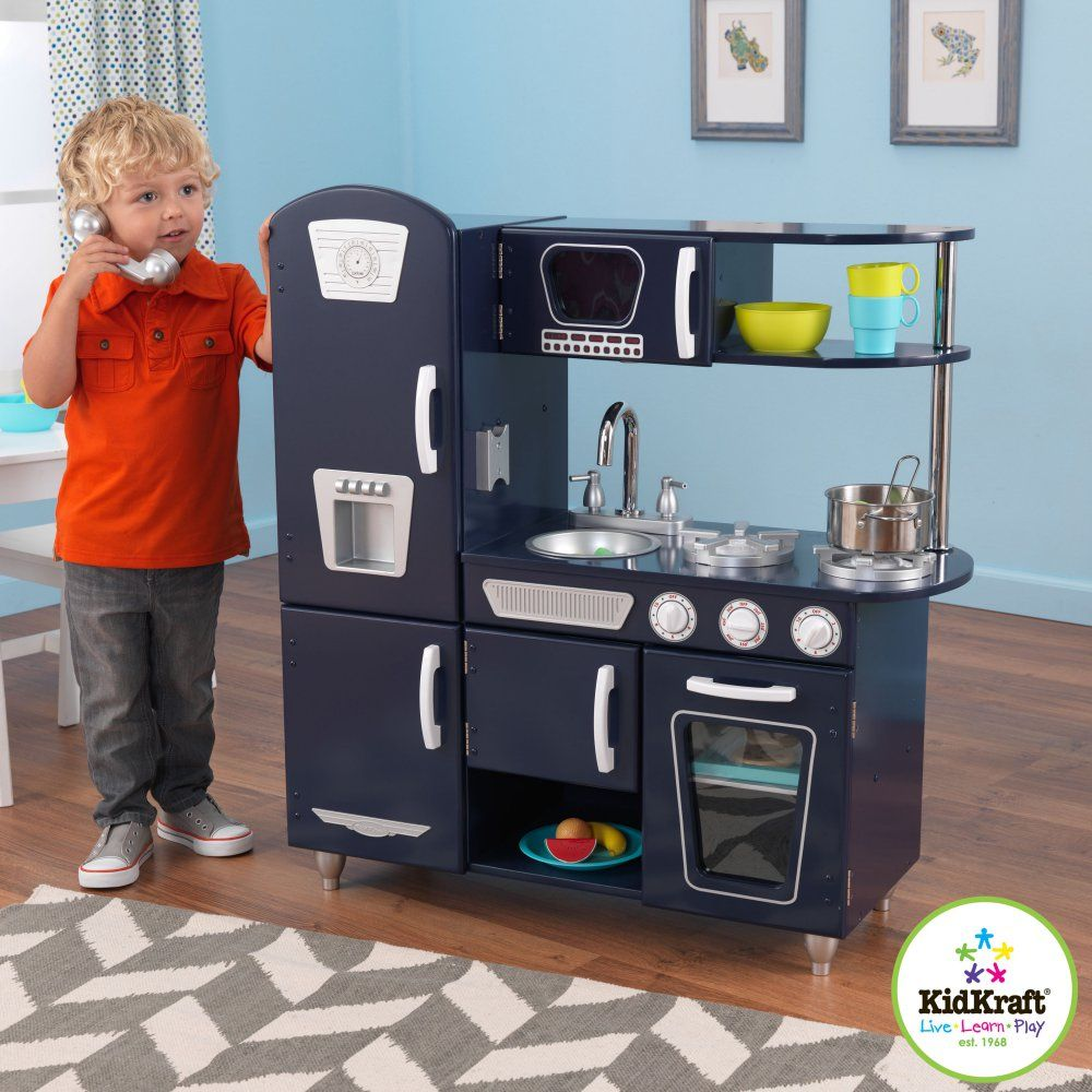 The Kidkraft Navy Vintage Play Kitchen 53296 Is Here To Serve Your Child S Imagination This Delightful Set Comes Complete With Fridge