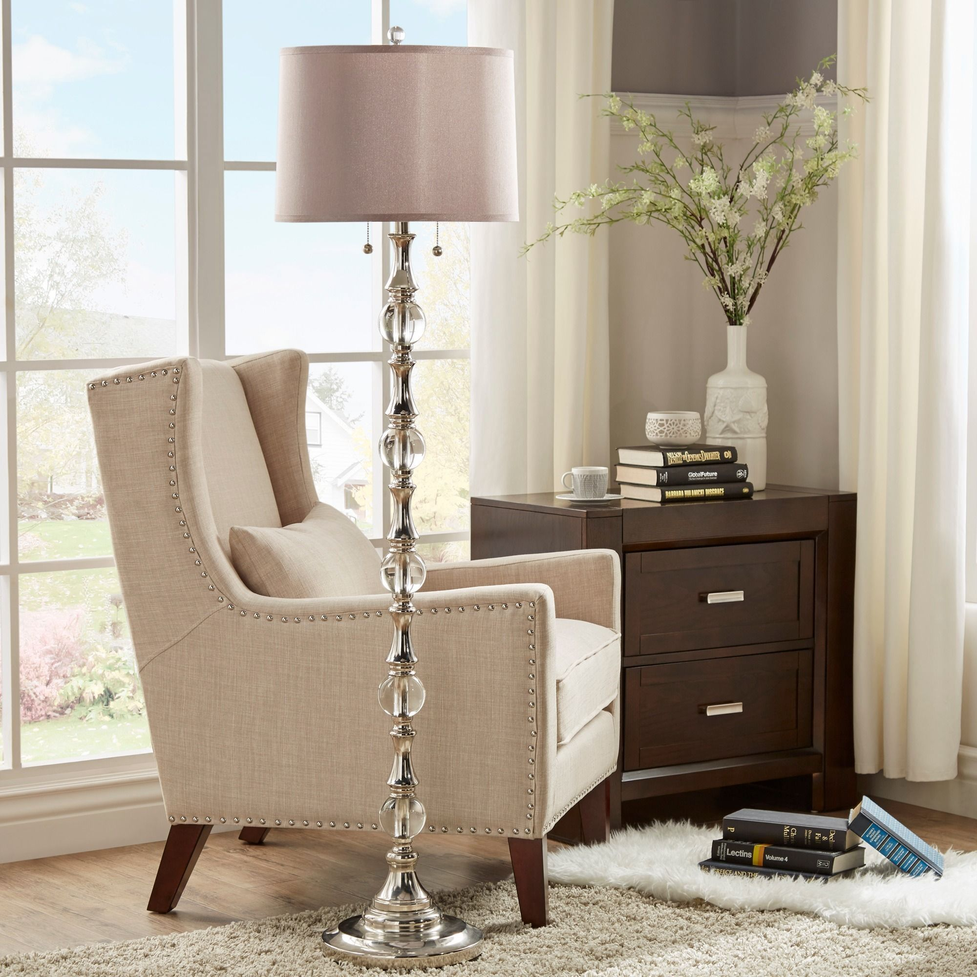 Tribecca Home Inspire Q Alric Glass Orb 2-Light Accent Floor Lamp (Floor  Lamp), Clear