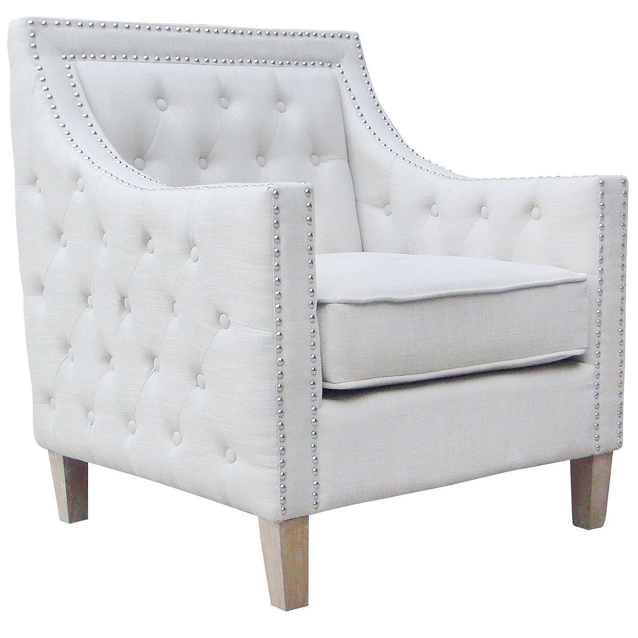 white linen accent chair