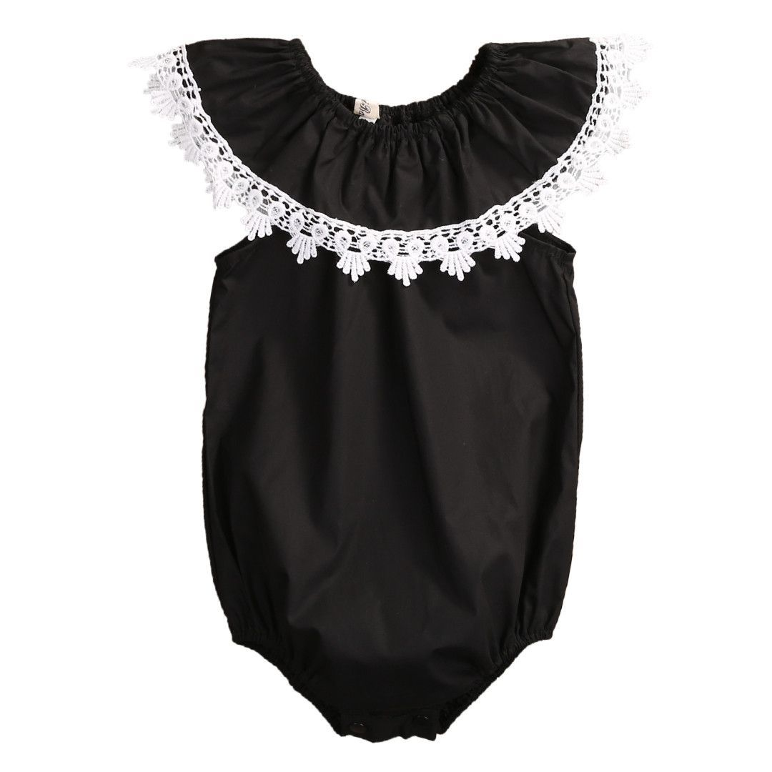 cf046b90cc4 Buy clothes for your baby girl now! Black Lace Collar Romper