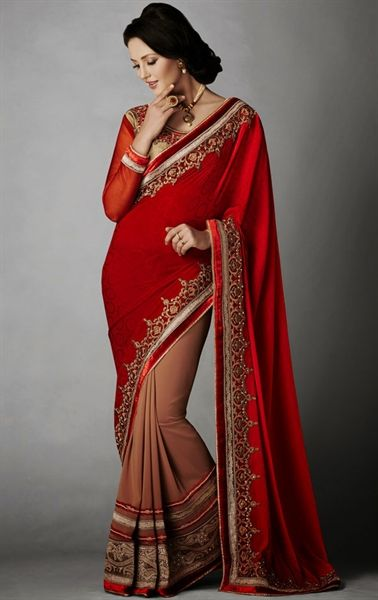 Luscious Chocolate and Red Color Delightful Saree