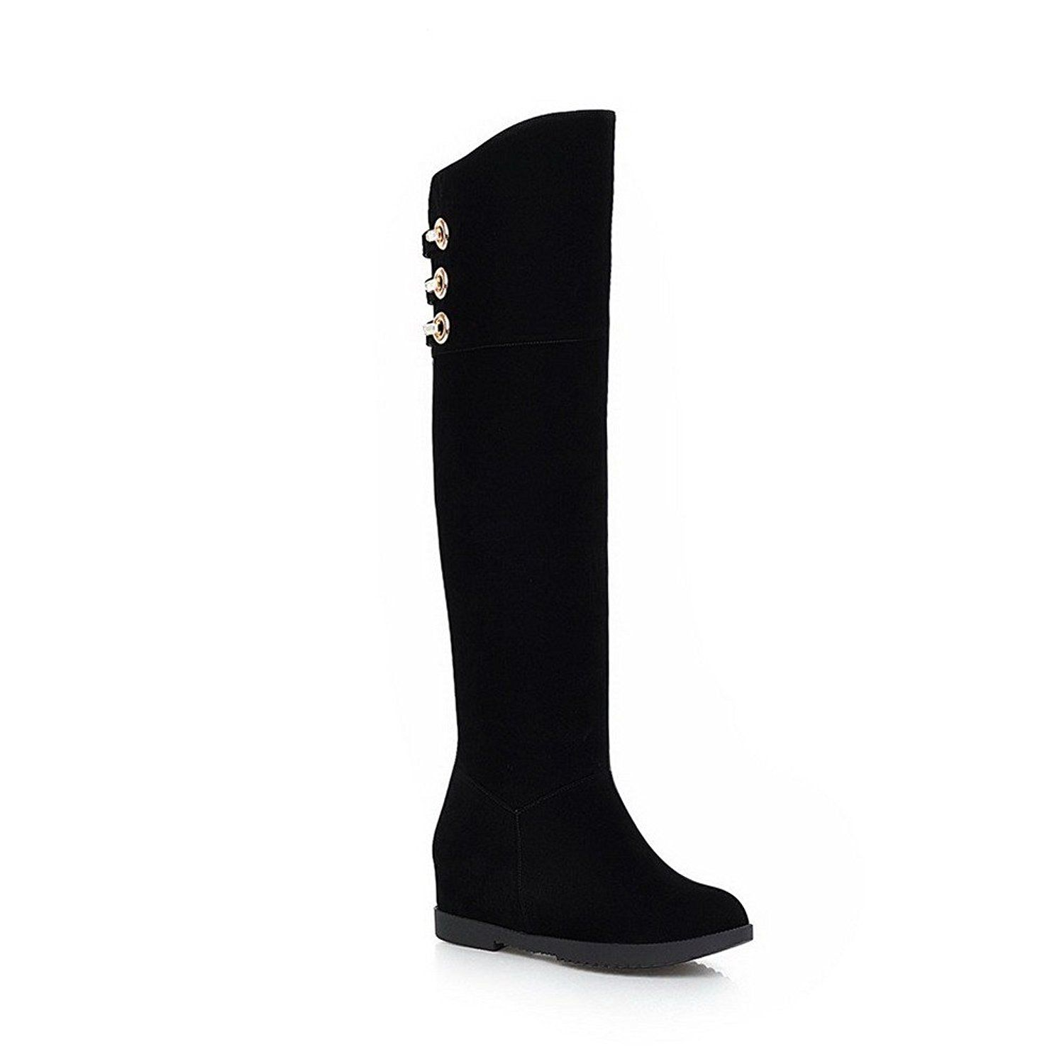 AmoonyFashion Women's Round-Toe Closed-Toe Kitten-Heels Boots with Metal Decoration and Platform * Details can be found by clicking on the image.