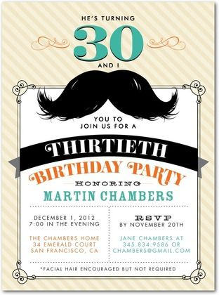 Adult Birthday Party Invitations Magnificent Mustache Front