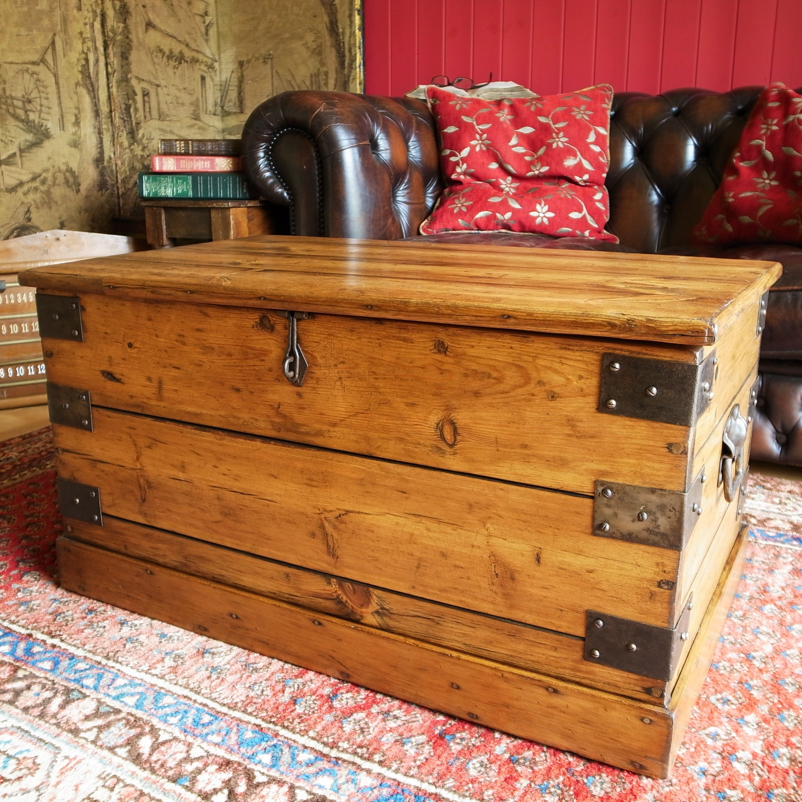 RUSTIC COFFEE TABLE Reclaimed Industrial Tool Chest Mid Century