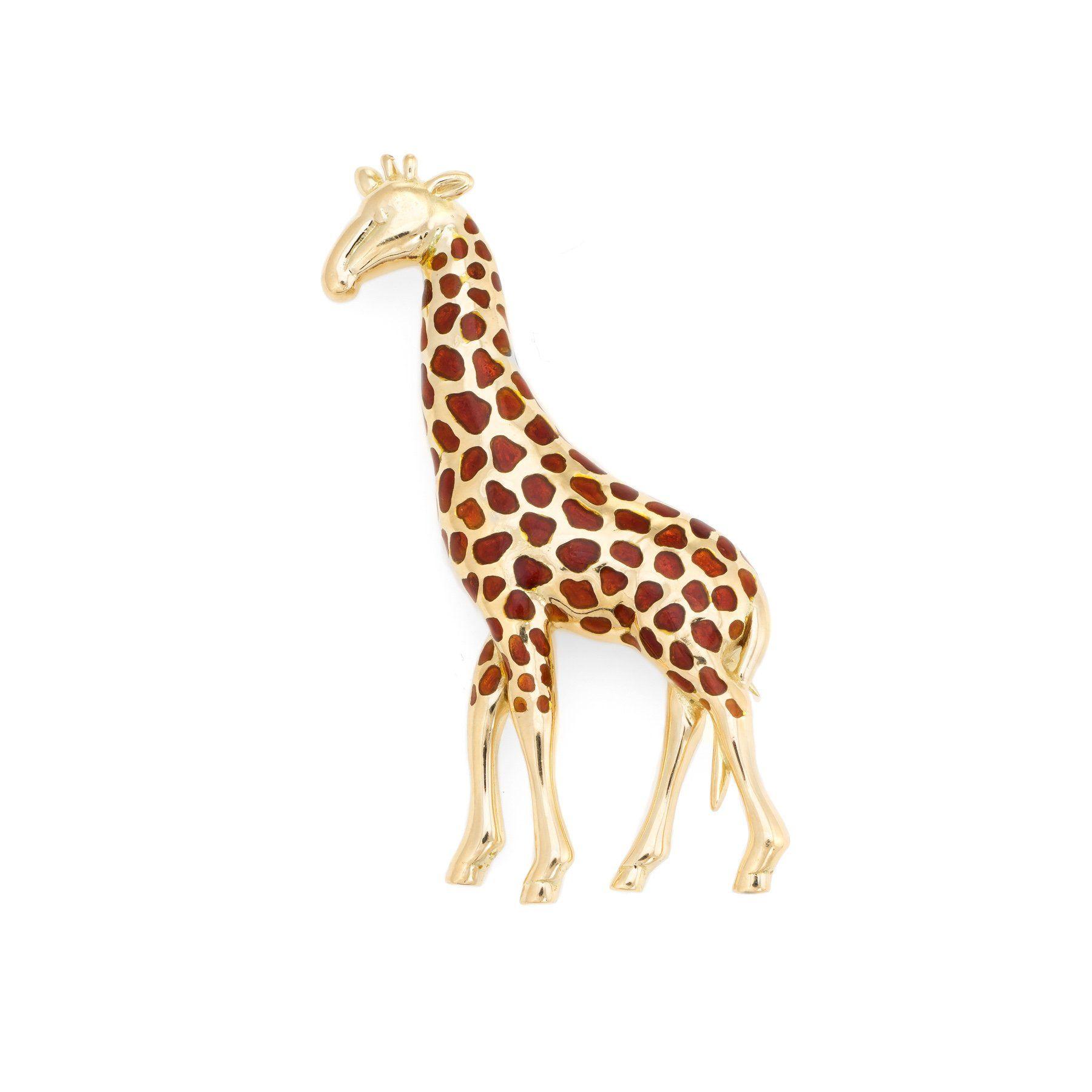 4e4faf20363cd Vintage Giraffe Brooch 18k Yellow Gold Pin Animal Jewelry Estate ...