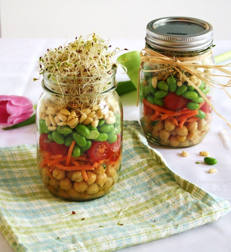 Sprouted spring salad in a jar (make ahead for work lunches)