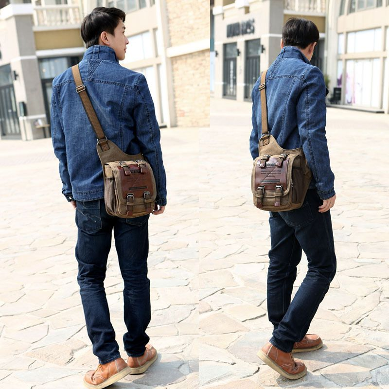Vintage canvas new man bag European stylish men shoulder versatile ...