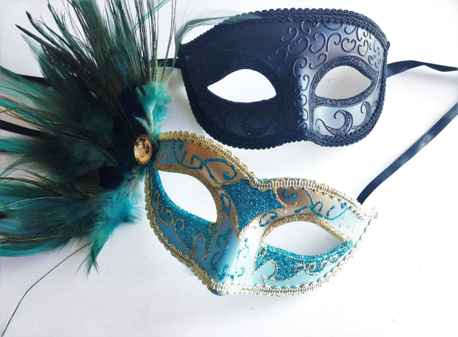 Turquoise Venetian Couples masks, Teal Feather Mask and Men venetian ...