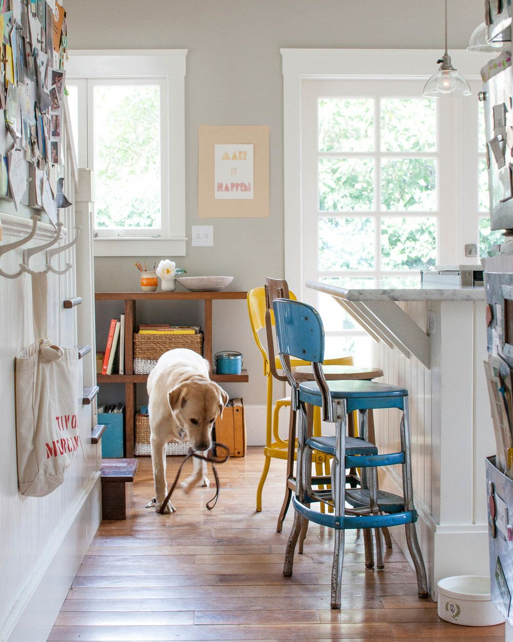 Narrow hallway colours  Hallway with multicolored bar stools and dog interior design