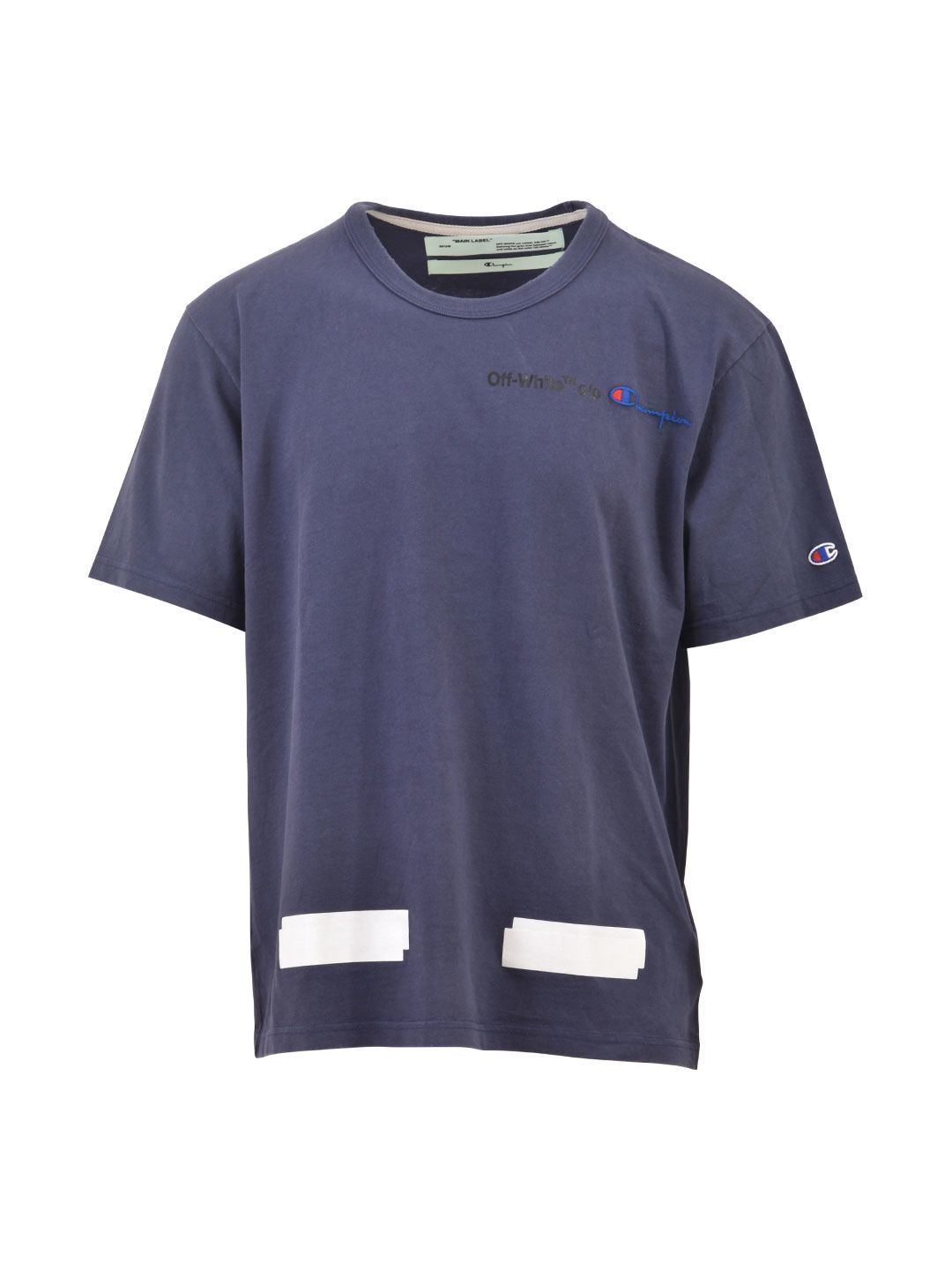 Off White Off Whit X Champion Tee In Blue Modesens Champion Tees Long Sleeve Tshirt Men Off White
