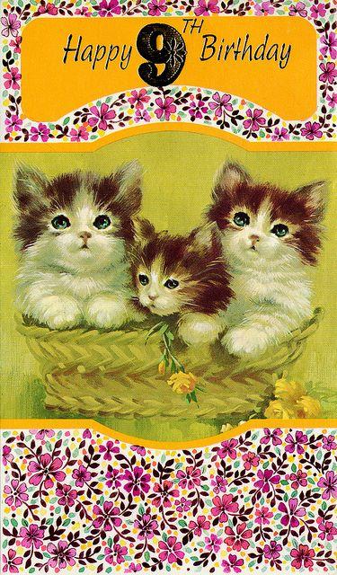Happy 9th Birthday Vintage Birthday Cards Kittens Vintage Cat Birthday Card