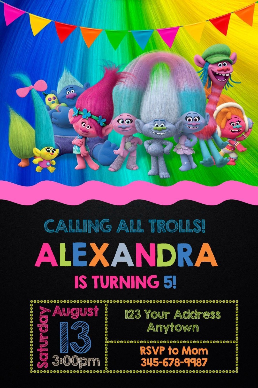 Trolls Birthday Party Invitations Personalized You Print
