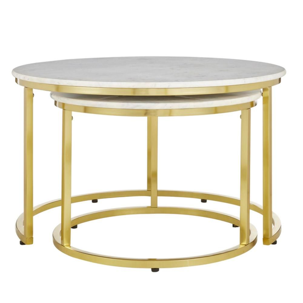 Home Decorators Collection Cheval Gold Metal Nesting Coffee Tables With Marble Top Set Of 2 30 5 In W X 19 In H Dc18 56100 The Home Depot In 2020 Nesting Coffee Tables