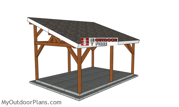 12x16 Lean To Pavilion Free Diy Plans Howtospecialist How To Build Step By Step Diy Plans In 2020 Backyard Pavilion Pavilion Plans Diy Patio