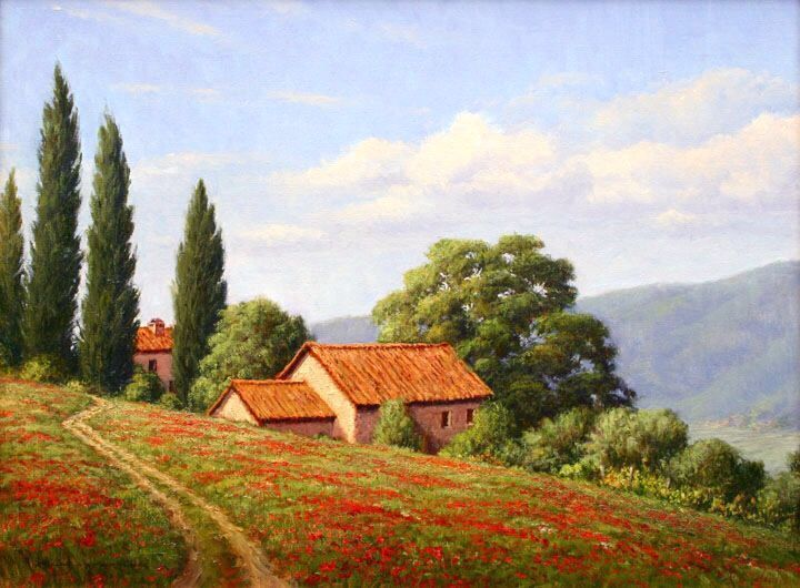Tuscan Landscape In 2020 Landscape Paintings Tuscan