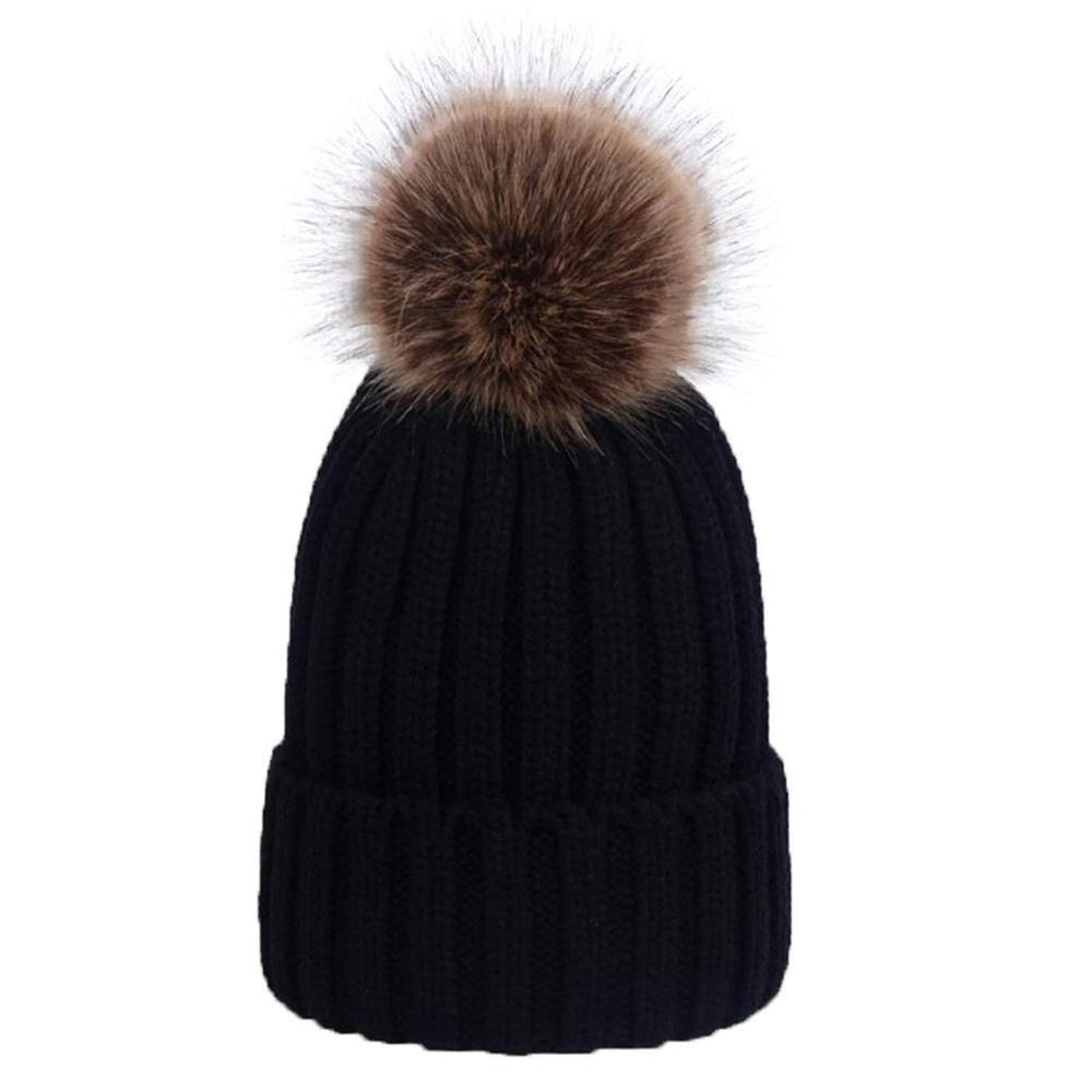 online store 46419 2b62d Womens Winter Fur Knitted Beanie Hat with Detachable Pom Pom Chunky Bobble