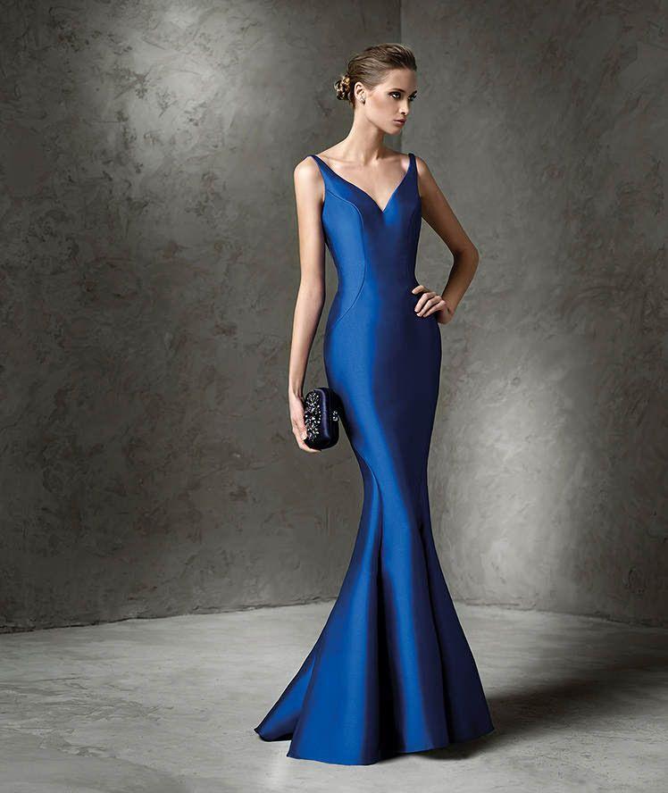 Vestido de fiesta en azul electrico