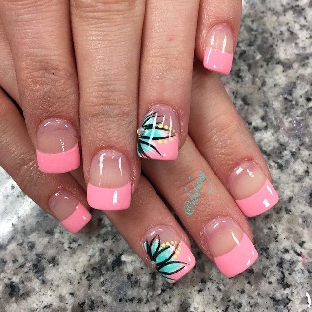 Hot Pink French Nails With Tiffany Blue Flowers and Neon Yellow Dots. - Hot Pink French Nails With Tiffany Blue Flowers And Neon Yellow