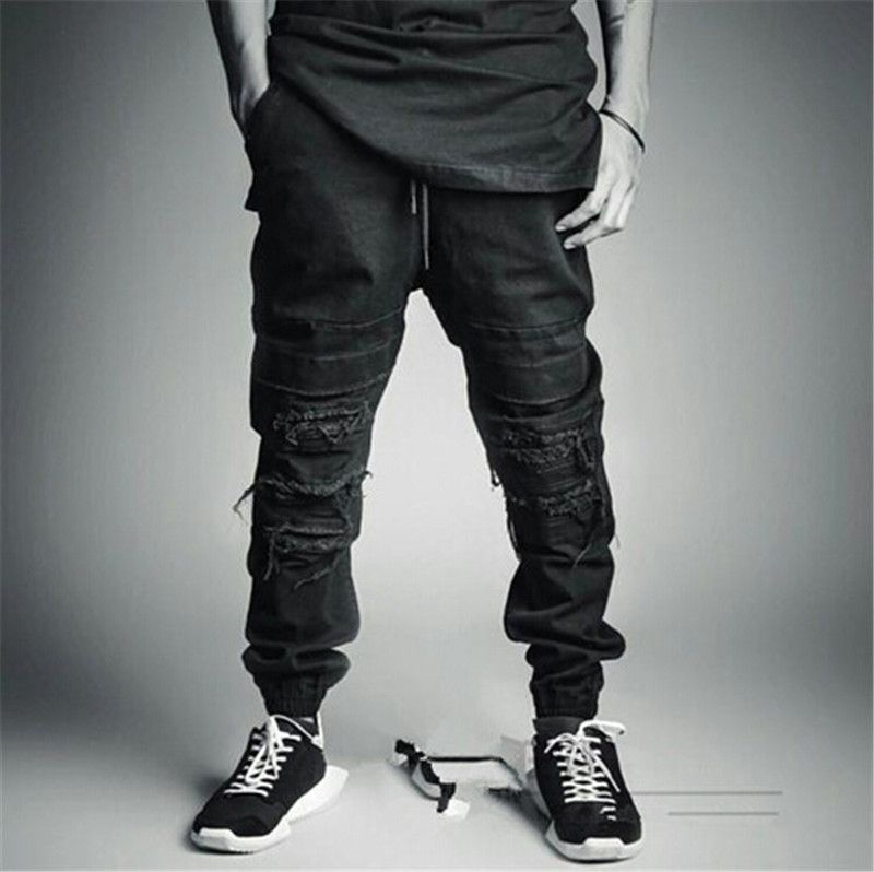 Ripped Jeans For Men Skinny Distressed Biker Jeans Streetwear swag ...