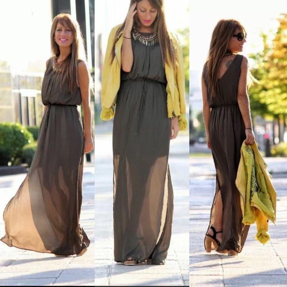 Details about NWT ZARA PLEATED LOW-CUT MAXI DRESS AW14 Khaki SIZE ...