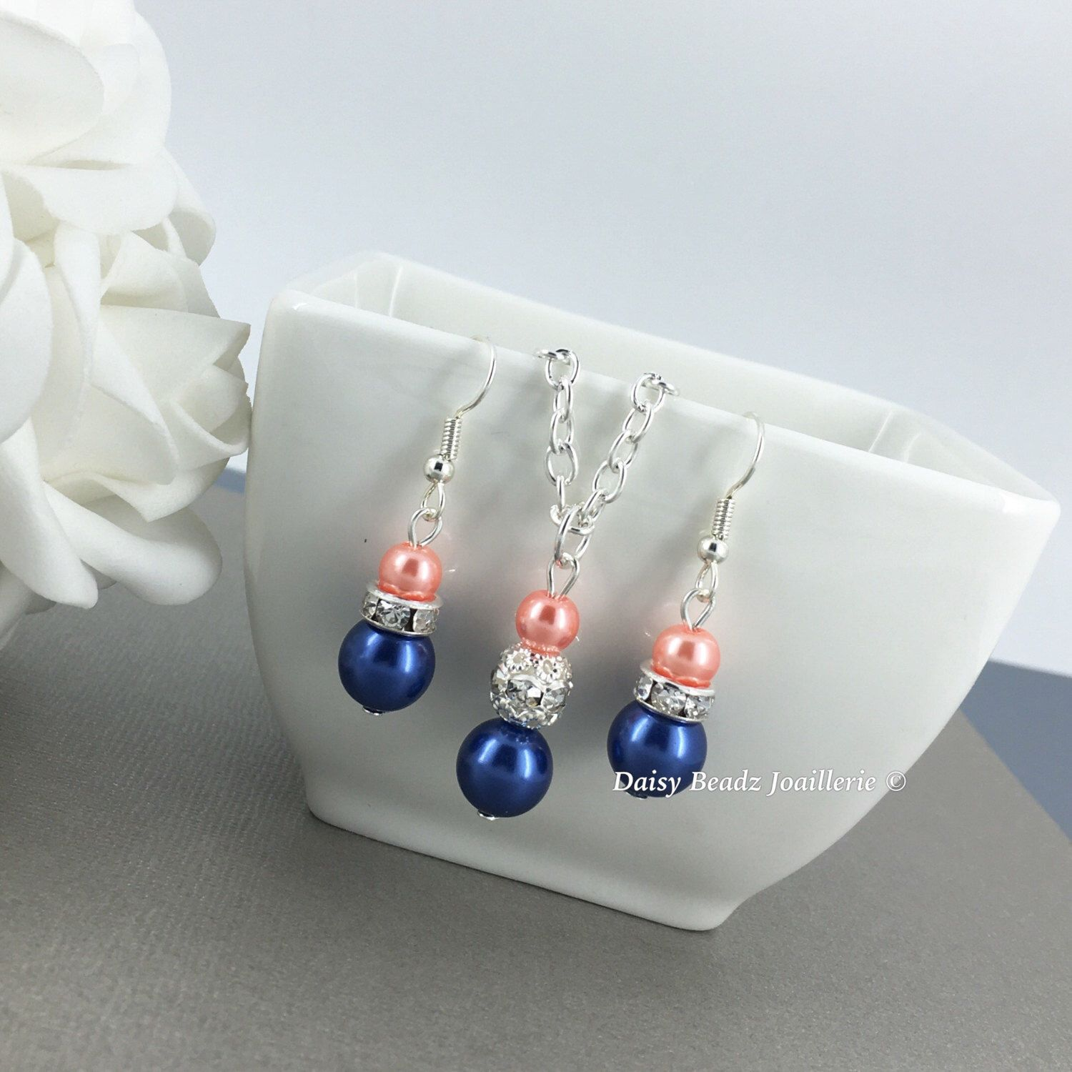 Bridesmaid Gift, Navy and Coral Necklace, Navy and Coral Jewelry ...