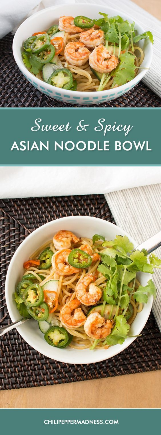 Sweet and Spicy Asian Noodle Bowl with Habanero Peppers - This Asian noodle bowl is packed with plenty of sweet heat. The combination of habanero and jalapeno peppers, along with honey, vinegar, soy sauce, fish sauce, chili-garlic sauce and so much more is sure to be a new recipe go-to.