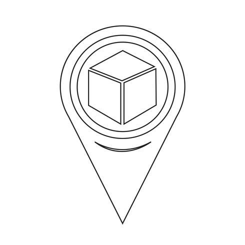 Map Pointer Cube Icon Retro Illustration Icon Free Vector Illustration